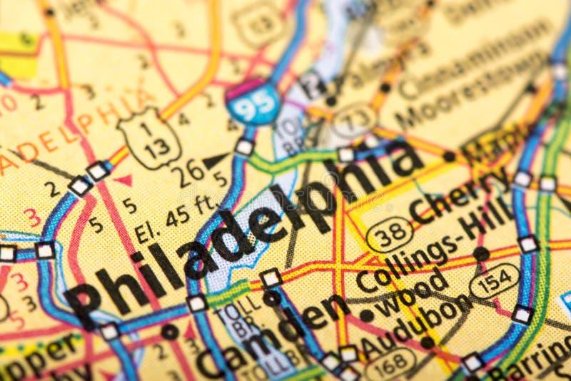 费城,地图的宾夕法尼亚 免版税库存照片