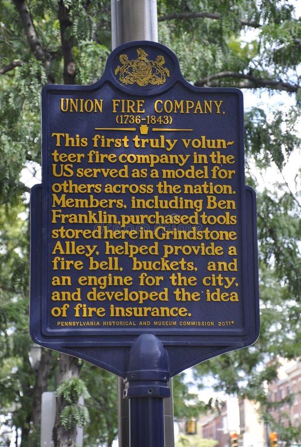 费城, 8月4日:与Union从费城的Fire Company的都市标志在宾夕法尼亚 图库摄影