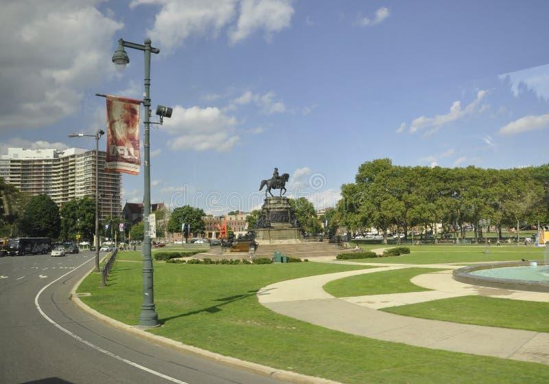 费城, 8月4日:在Eakins长圆形的华盛顿纪念碑从费城在宾夕法尼亚 库存图片