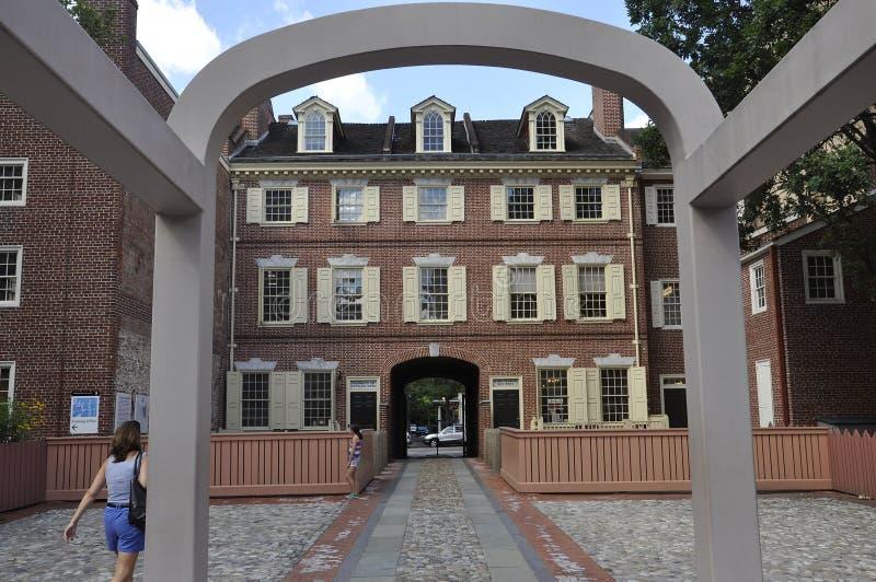 费城, 8月4日:本杰明・富兰克林从费城的议院地点在宾夕法尼亚 免版税库存图片