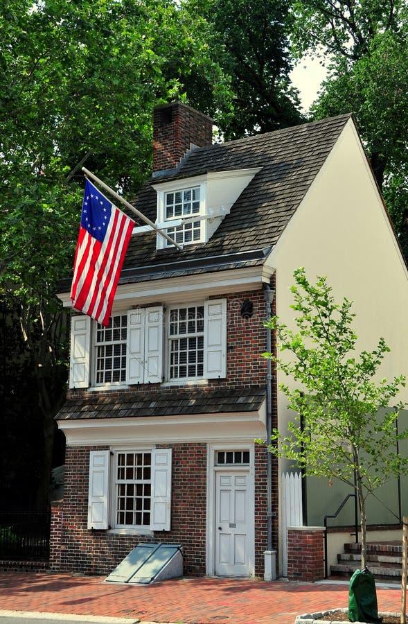 费城, PA :C. 1740 Betsy罗斯议院 图库摄影