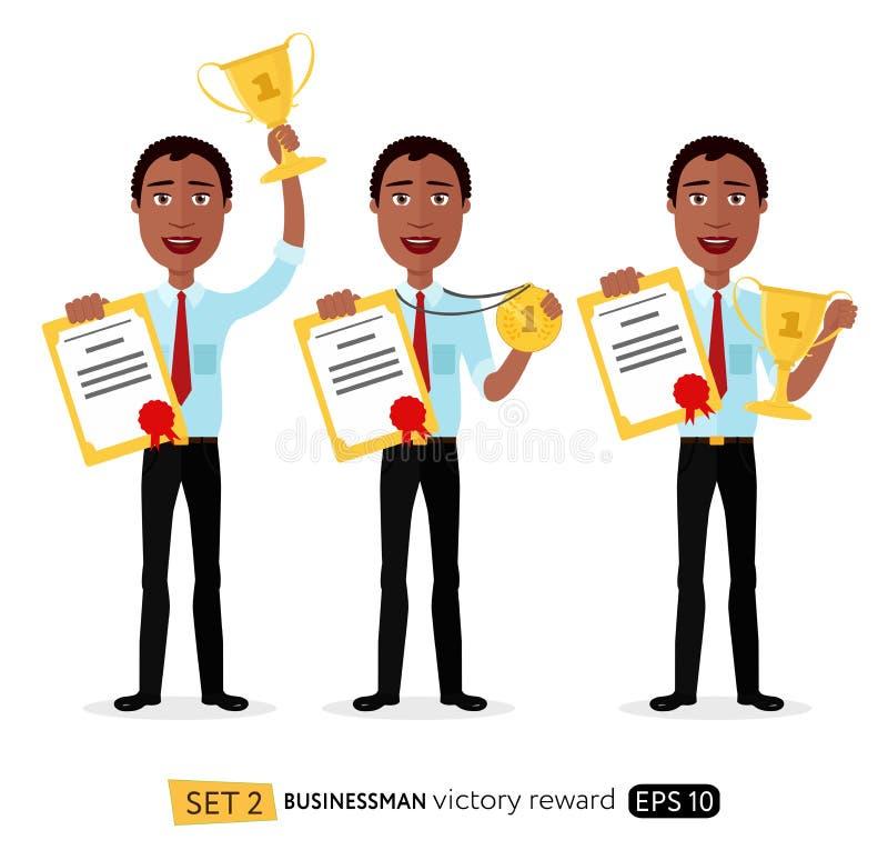 培养战利品奖牌cert的非洲激动的微笑的动画片人 向量例证