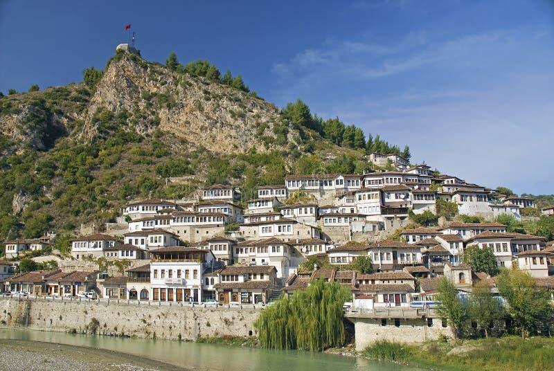 培拉特老镇在阿尔巴尼亚 库存照片