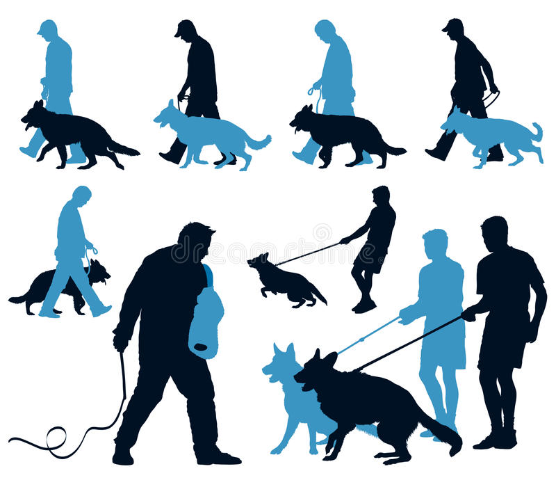 培训年轻人的狗 向量例证