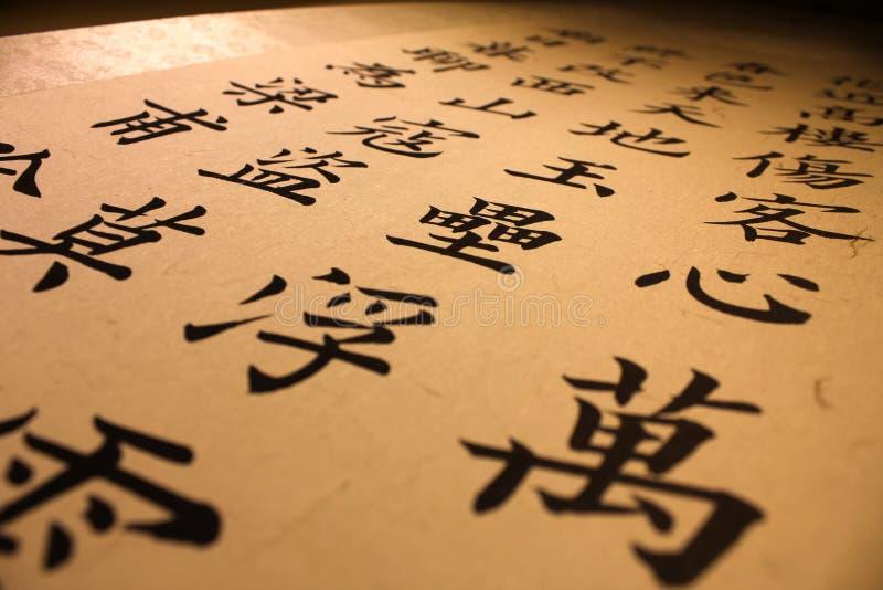 基于书法紧密字符中国人极其谷物递图象媒体混杂的绘画摄影纹理 免版税库存照片