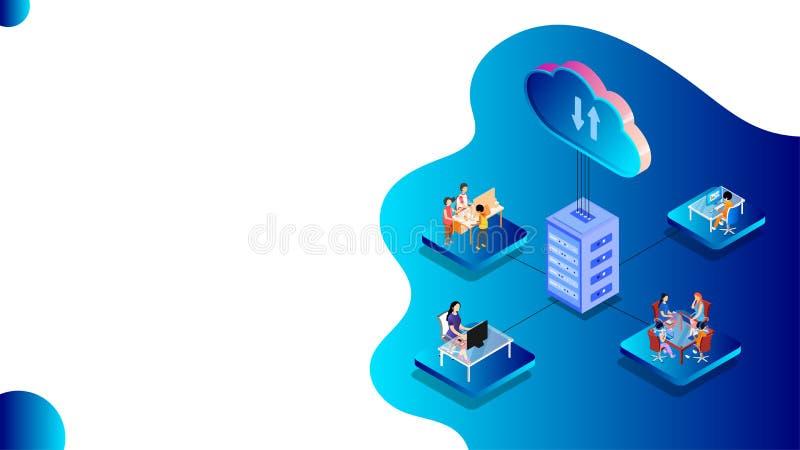 基于云存储或数据共享概念的设计,人们在不同平台上工作以及与本地连接的数字设备 库存例证
