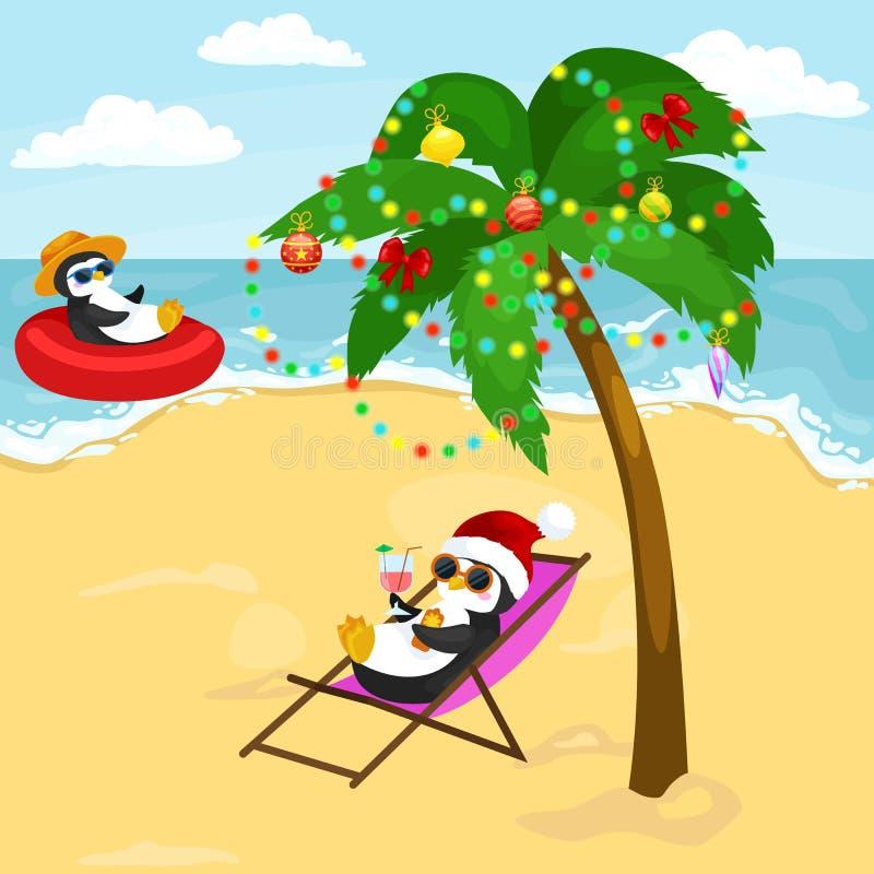 基于在海滩的假日的动画片两企鹅 库存例证