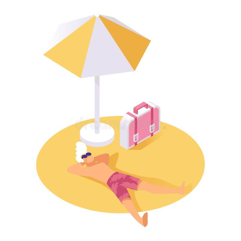 基于沙子等量传染媒介例证的人 假日游客休息在夏天休假期间的,假期,周末3d 库存例证