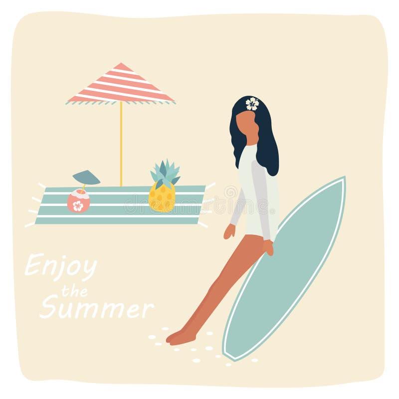 基于海滩的冲浪者gitrl 加利福尼亚海报火轮葡萄酒 向量例证