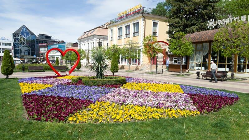 基兹洛沃茨克手段的中央步行街道在俄罗斯 美丽的花床和装饰装饰 库存图片