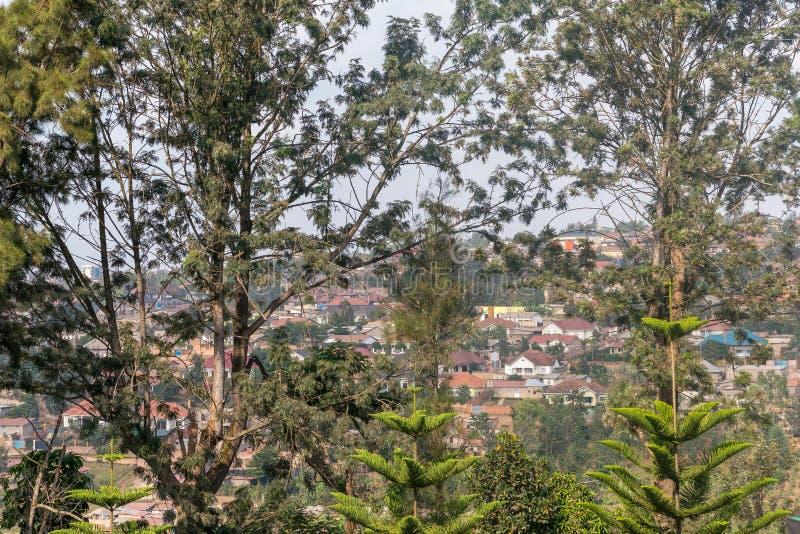 基加利鸟瞰图从远方 免版税库存照片