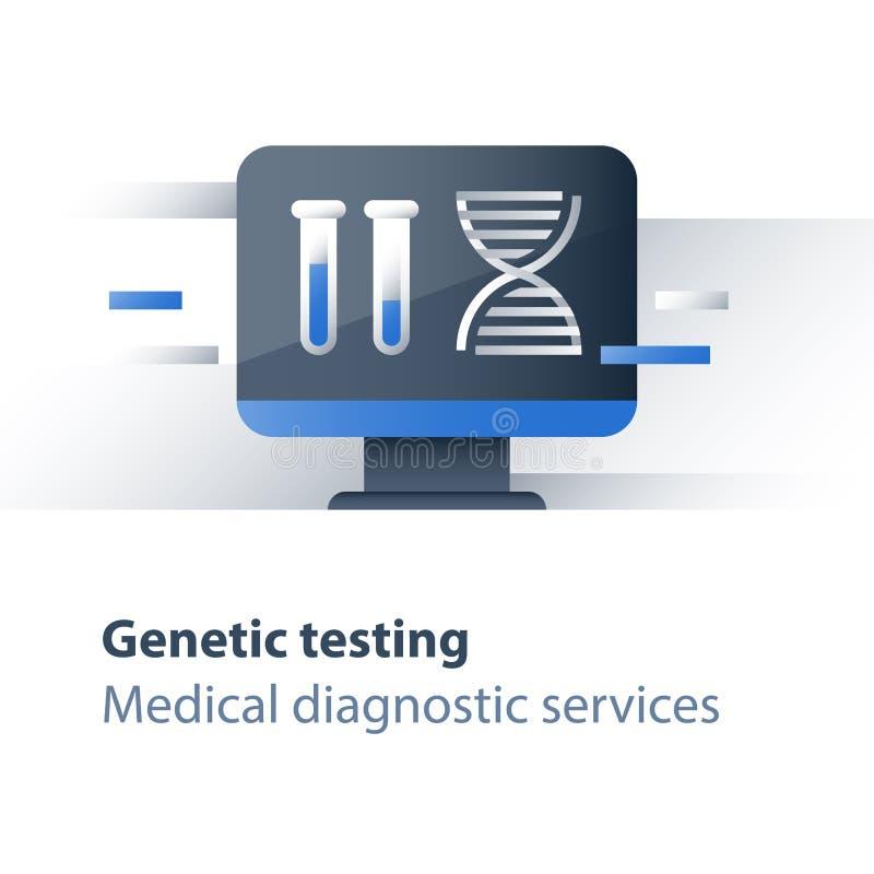 基因螺旋,脱氧核糖核酸测试,医学化验,医疗保健,系统分析服务,个人化的医学概念 向量例证