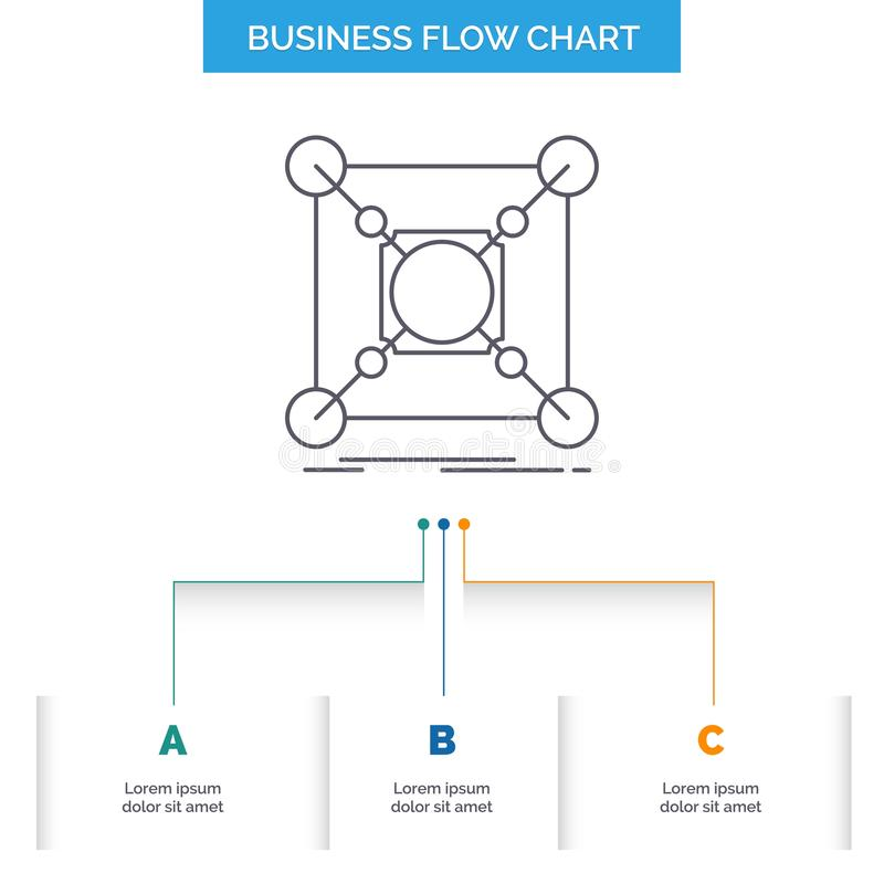 基地,中心,连接,数据,插孔企业与3步的流程图设计 r 向量例证