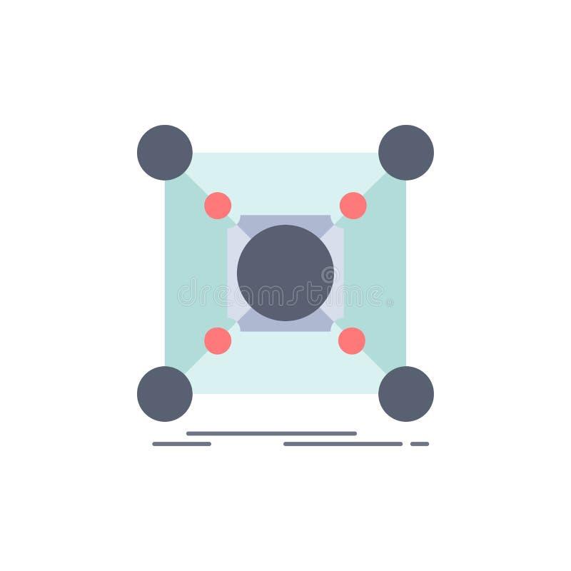 基地,中心,连接,数据,插孔平的颜色象传染媒介 向量例证
