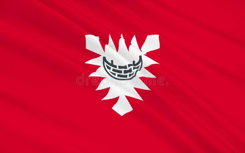 基尔旗子是资本和多数人口众多的城市northe的 库存例证