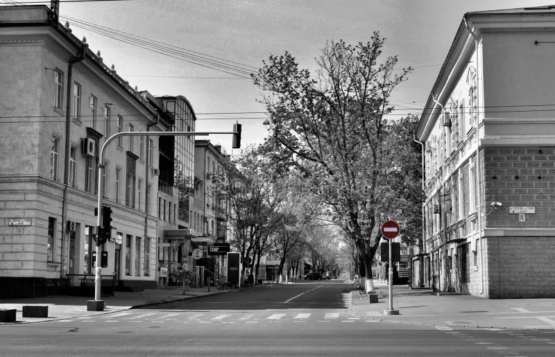 基希讷乌市摩尔多瓦春天空街道病毒盛行背景 免版税库存图片
