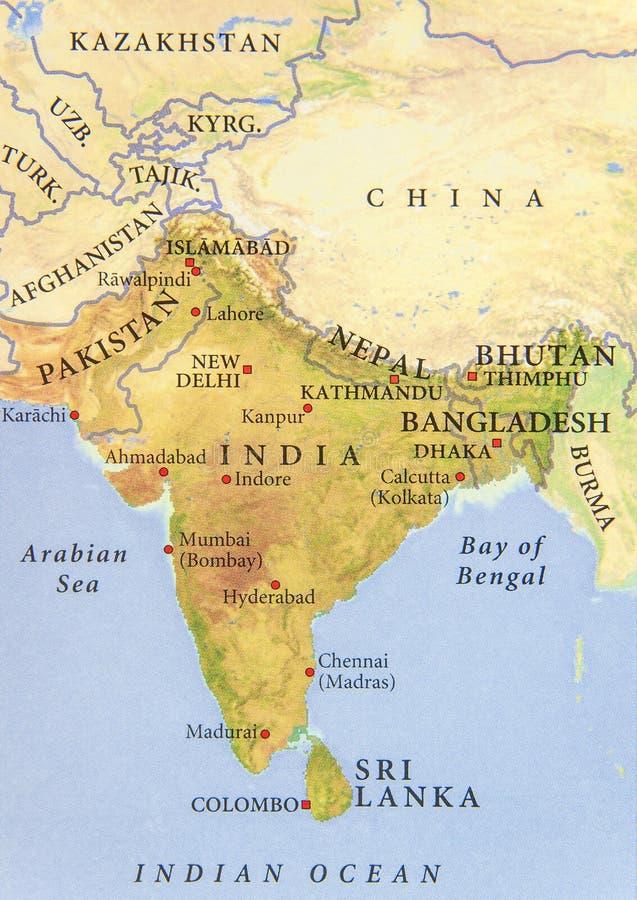巴基斯坦、印度、尼泊尔、孟加拉国和不丹的地理地图有重要城市的 免版税图库摄影