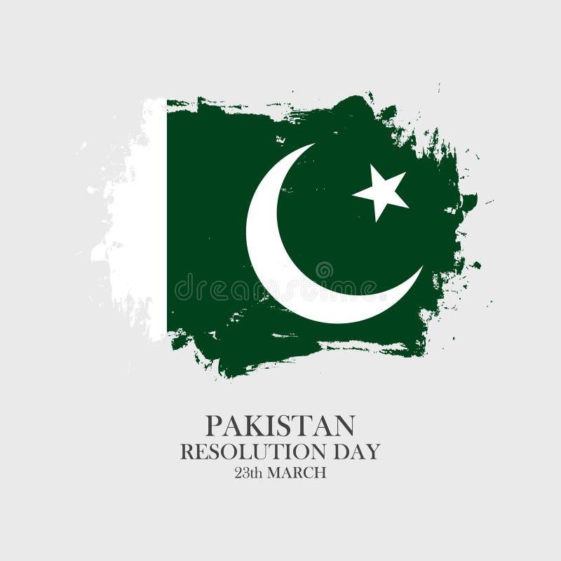 巴基斯坦决议天23行军贺卡有巴基斯坦国旗刷子冲程背景 向量例证