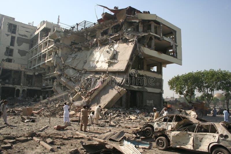 巴基斯坦旅馆轰炸 图库摄影