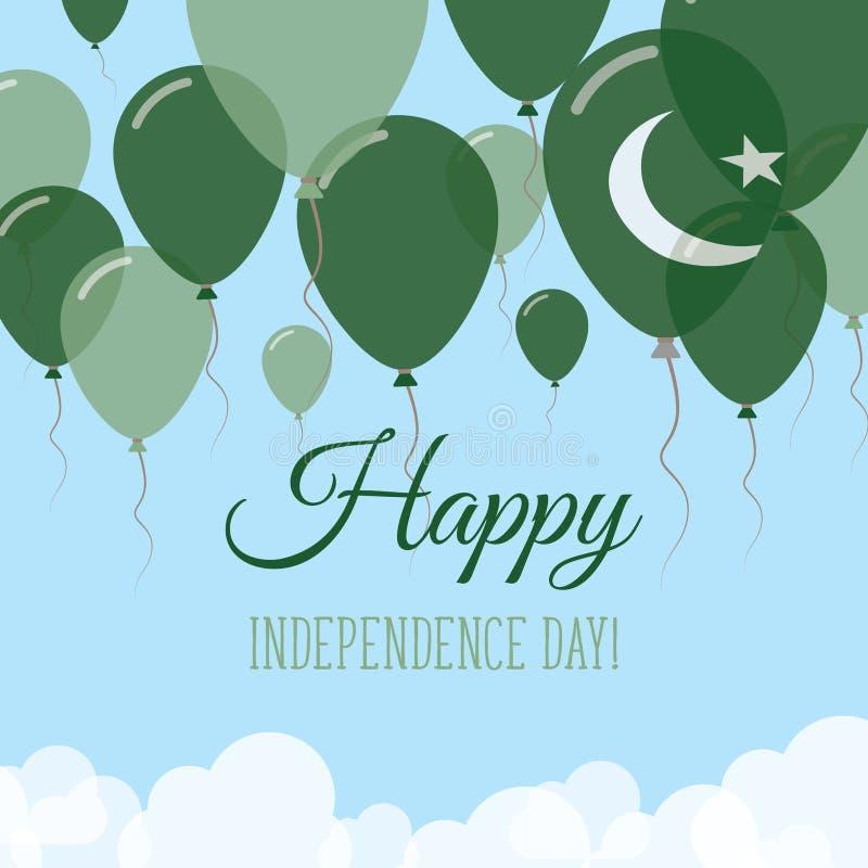 巴基斯坦美国独立日平的贺卡 向量例证