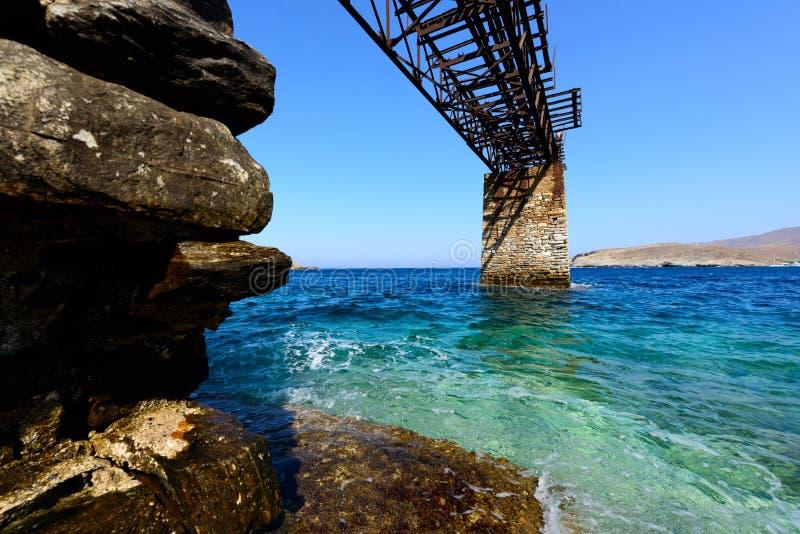 基斯诺斯岛Loutra铁码头 免版税库存图片