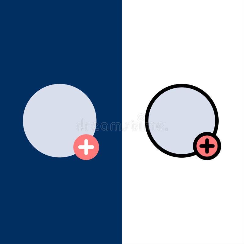 基本、加号、标记、用户界面图标 平整和线条填充图标设置矢量蓝背景 皇族释放例证