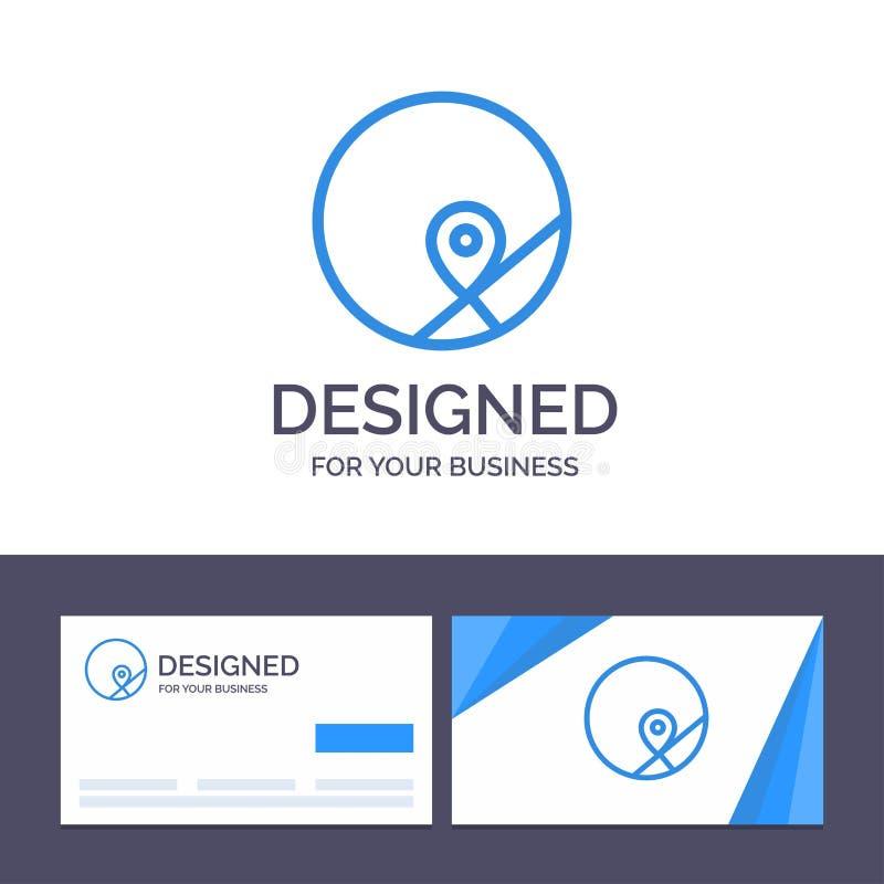 基本创造性的名片和商标的模板,地图,地点,地图传染媒介例证 库存例证