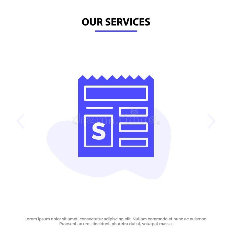 基本我们的服务,金钱,文件,银行坚实纵的沟纹象网卡片模板 皇族释放例证