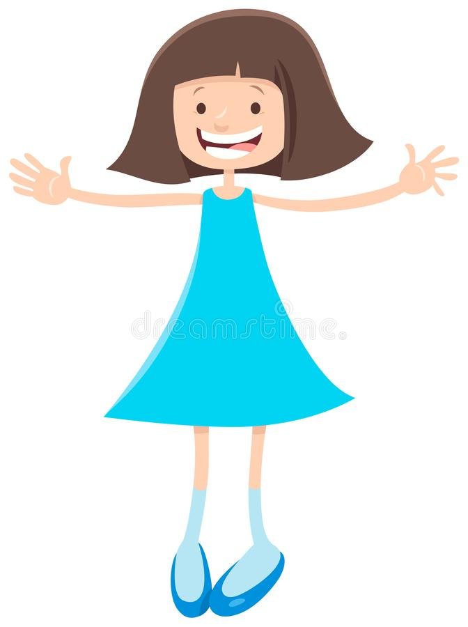 基本或青少年的年龄动画片女孩 库存例证