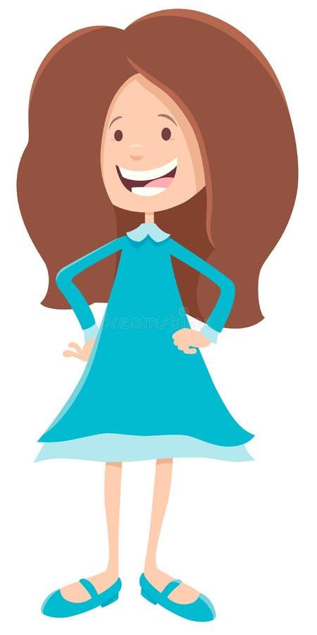 基本或青少年的年龄女孩卡通人物 库存例证