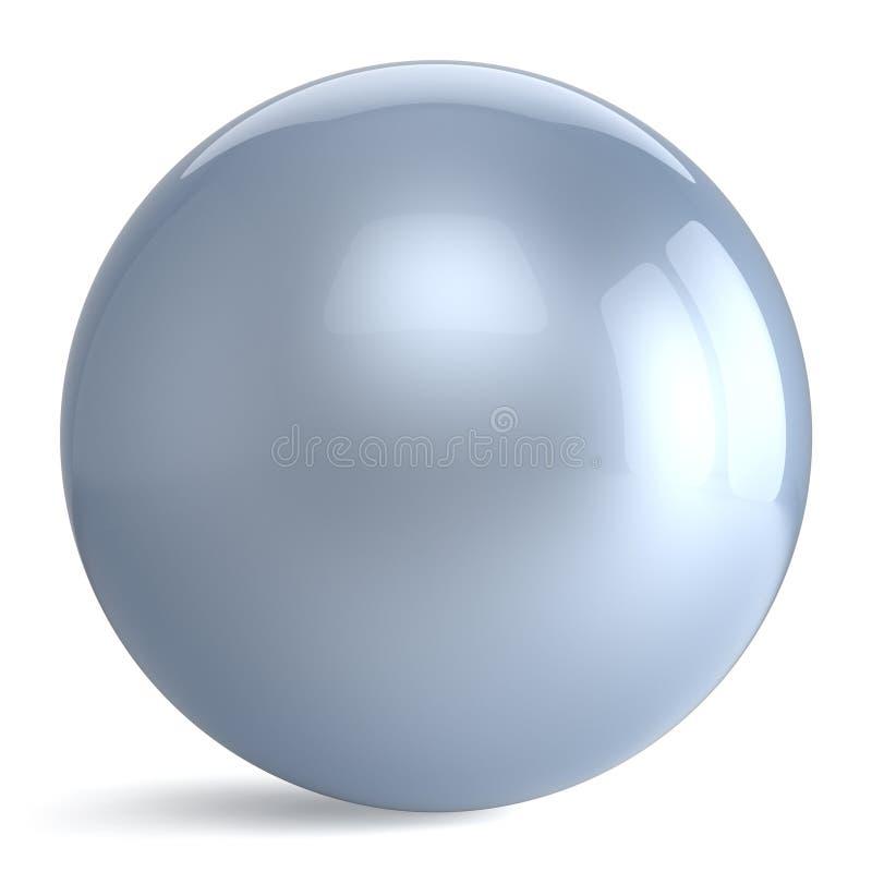 基本球形按钮圆的白色银色球几何的形状 向量例证
