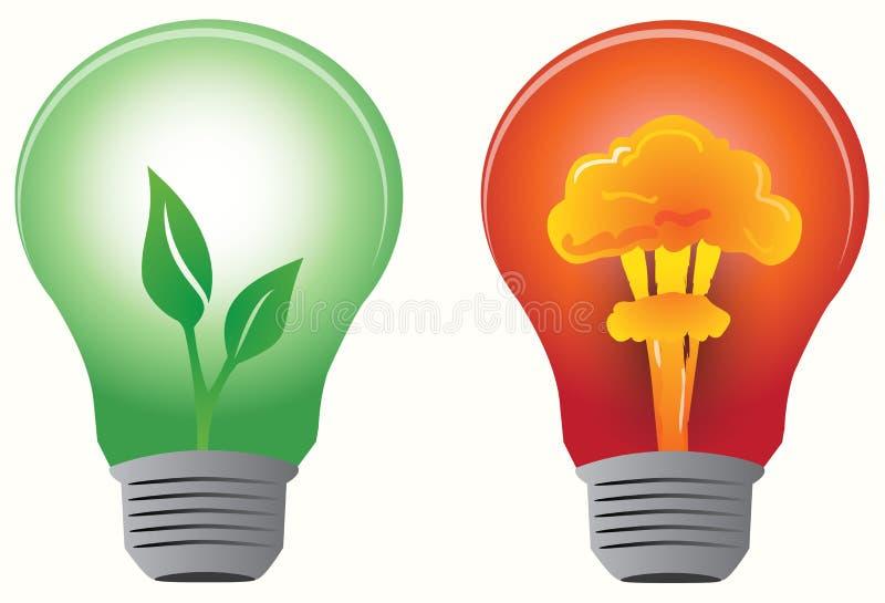 基本疾风电灯泡被获取的绿色叶子 库存例证