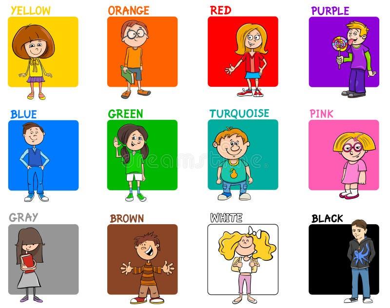 基本的与孩子的颜色教育集合 皇族释放例证