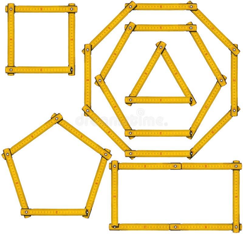 基本的几何形状-木统治者 库存例证