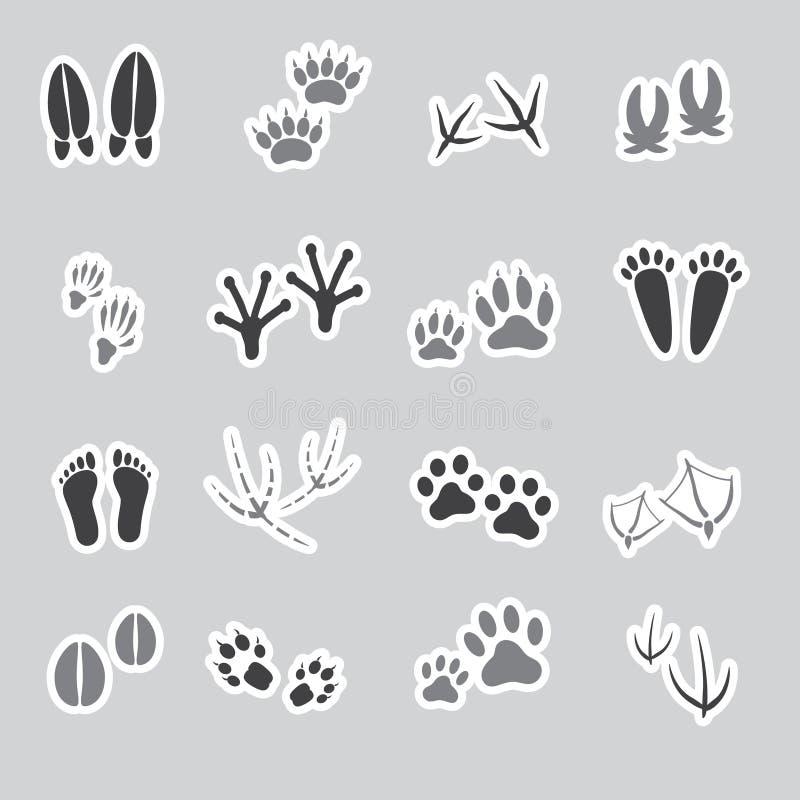基本的动物脚印贴纸,集合 库存例证