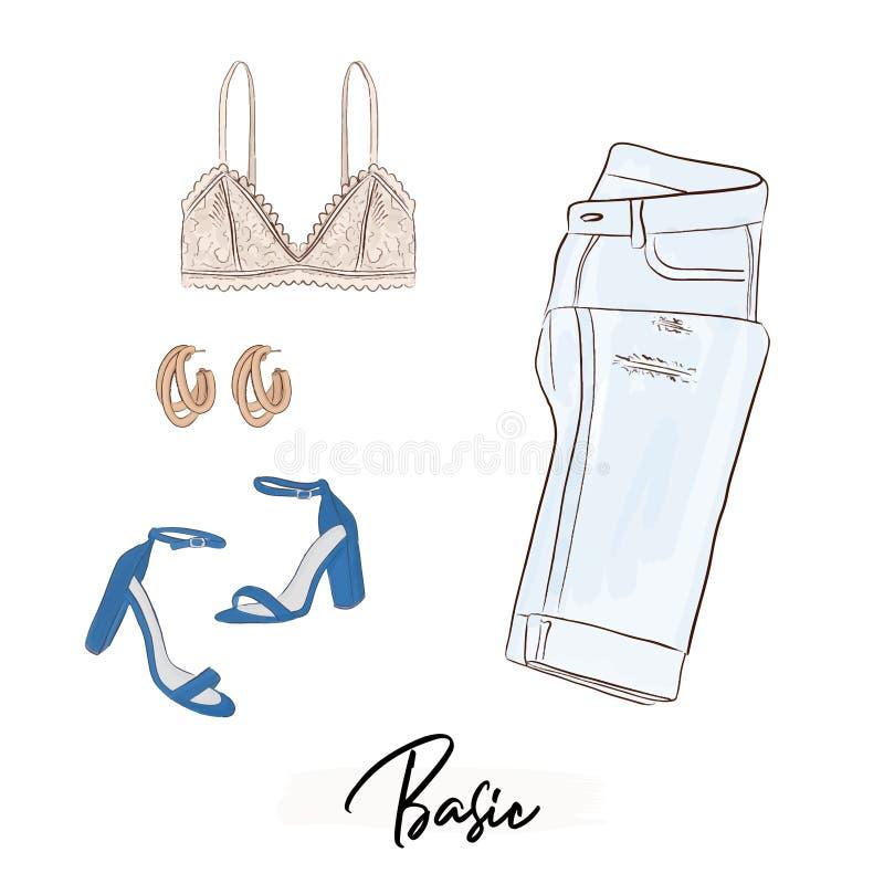 基本的妇女收藏:bralette,牛仔裤,耳环,高跟鞋 flatlay魅力的时尚 服装店元素 偶然 向量例证