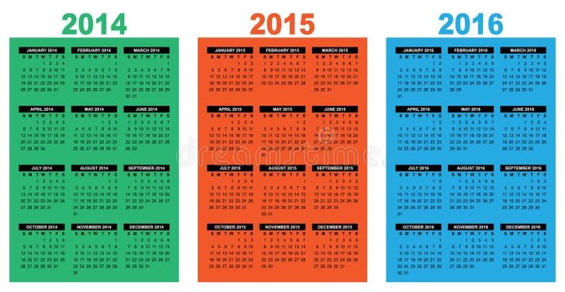 基本的日历2014-2016 向量例证