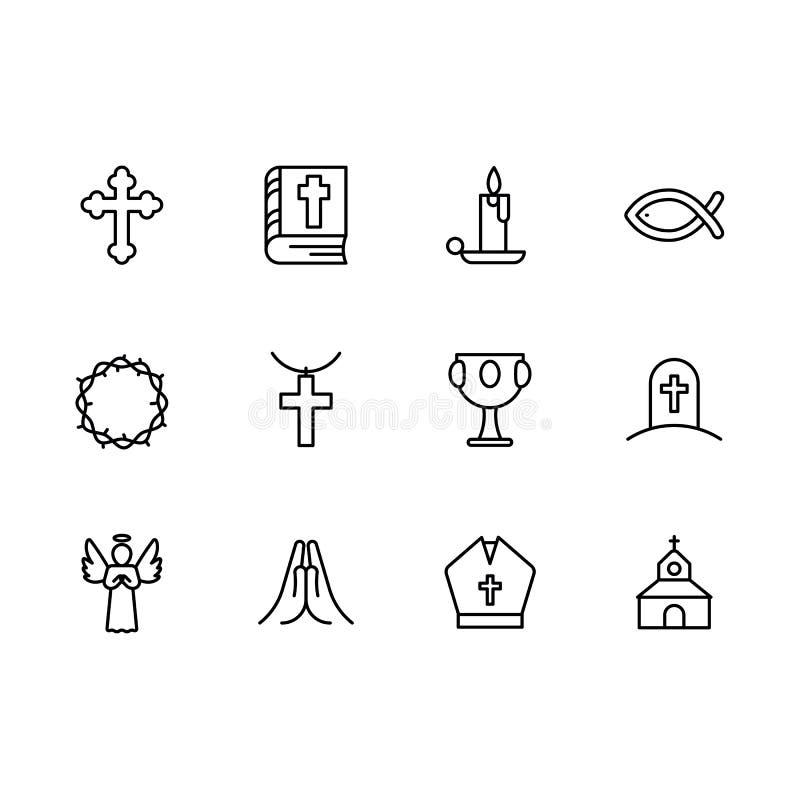 基本的RGBSimple集合符号宗教和教会线象 包含这样象宗教十字架,圣经书,蜡烛 库存例证
