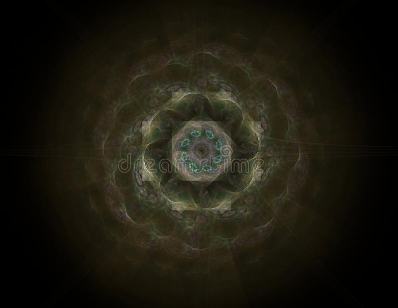 基本粒子系列 抽象分数维互相作用关于核物理科学和图形设计形成 向量例证