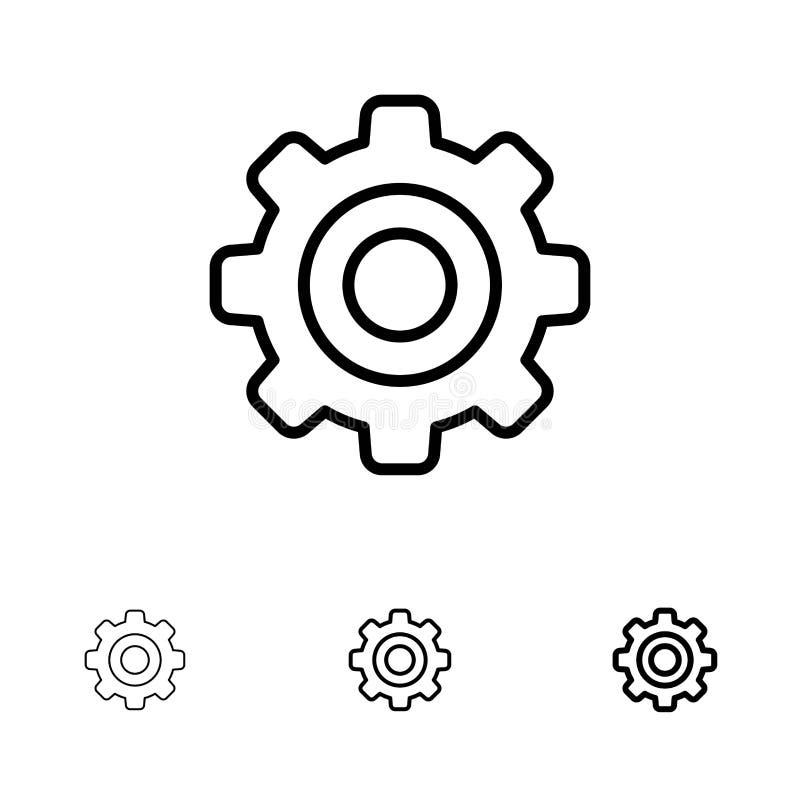 基本,一般,齿轮,轮子大胆和稀薄的黑线象集合 向量例证