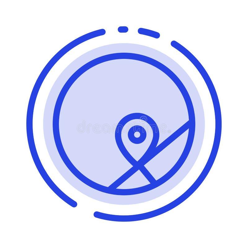 基本,地图,地点,地图蓝色虚线线象 库存例证