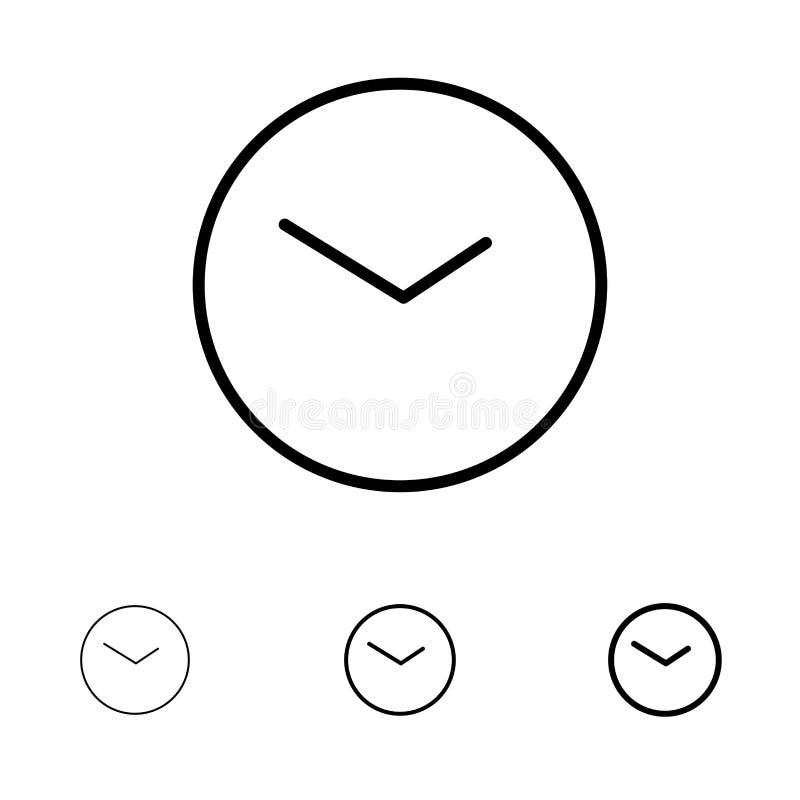 基本,手表、时间,时钟大胆和稀薄的黑线象集合 向量例证