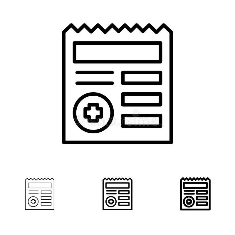 基本,文件、Ui,医疗大胆和稀薄的黑线象集合 向量例证
