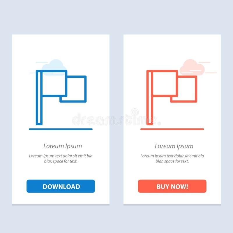 基本,旗子、Ui蓝色和红色下载和现在买网装饰物卡片模板 皇族释放例证