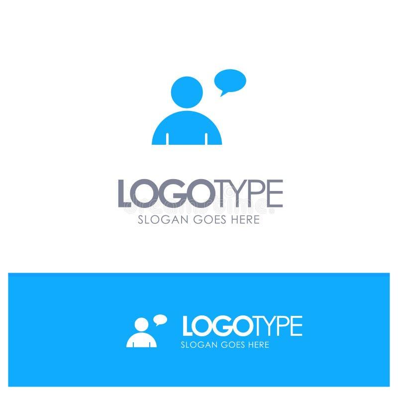 基本,聊天,与地方的用户蓝色坚实商标口号的 向量例证