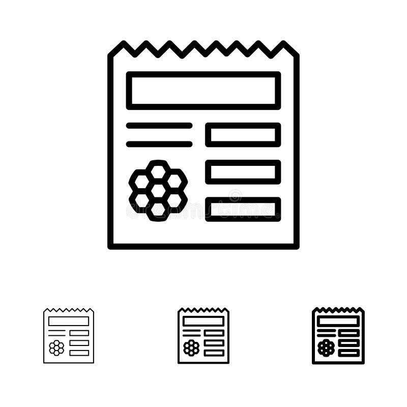 基本,Ui,Manu,提供大胆和稀薄的黑线象集合 库存例证