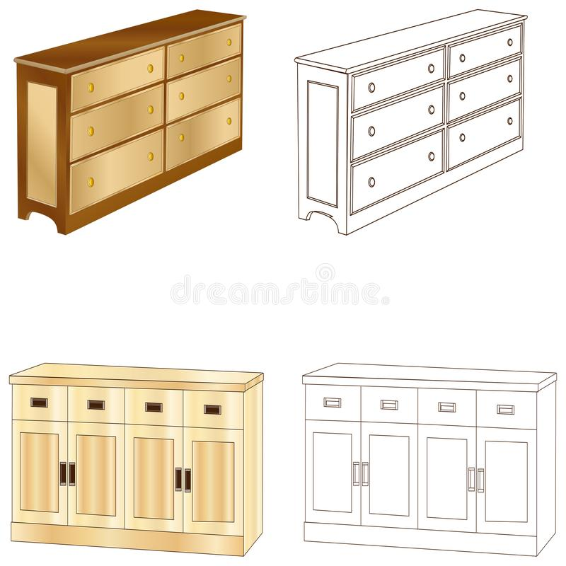Color and colorless bookcases and furniture cabinets. Vector illustration design. Document cabinet and wardrobe royalty free illustration