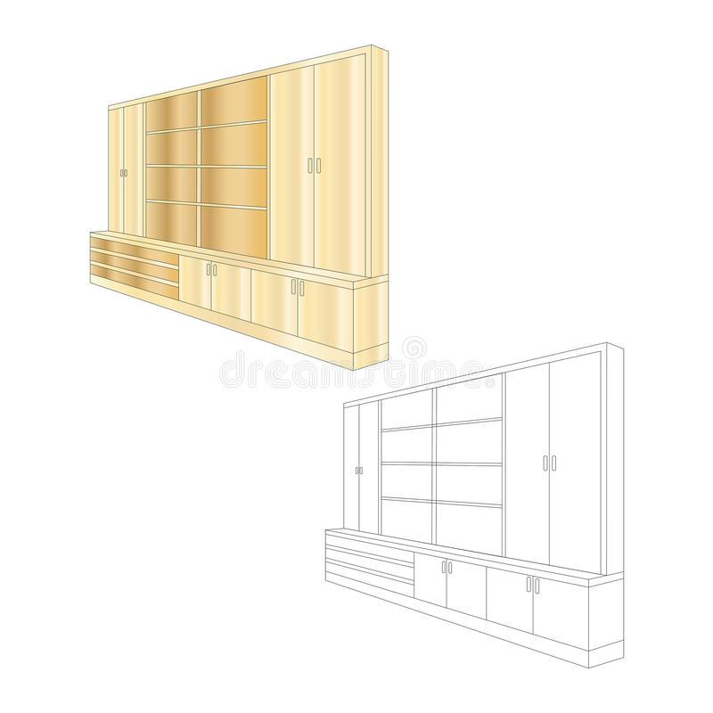 Color and colorless bookcases and furniture cabinets. Vector illustration design. Document cabinet and wardrobe stock illustration