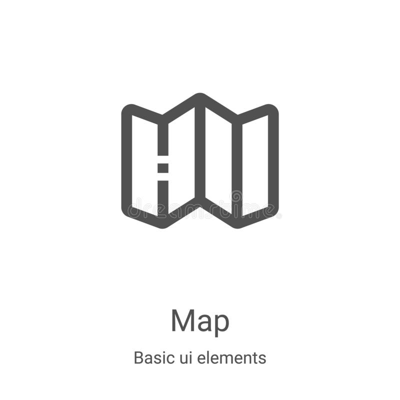 map icon vector from basic ui elements collection 细线图轮廓图标矢量图插图 用于Web的线性符号 皇族释放例证