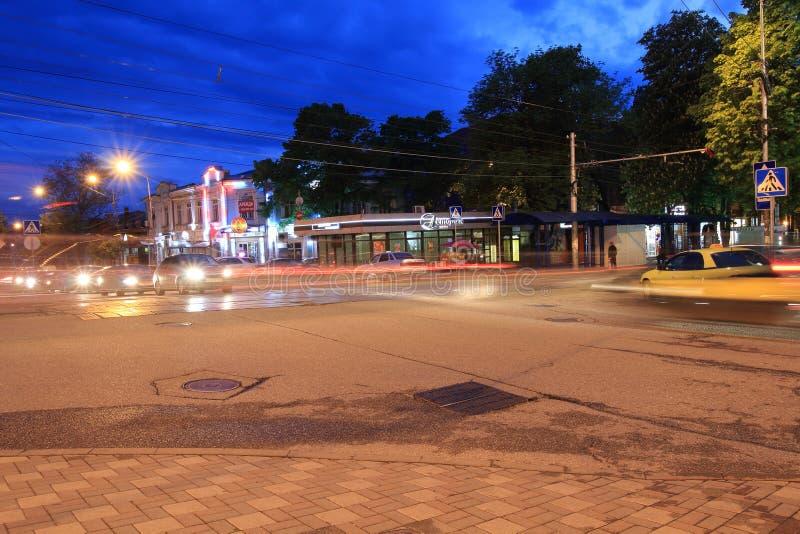 基洛夫大道和Dzerzhinsky街交叉路在Pyatigorsk,俄罗斯 免版税图库摄影